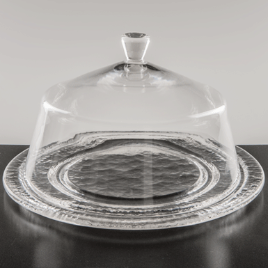 Large glass dome with plate