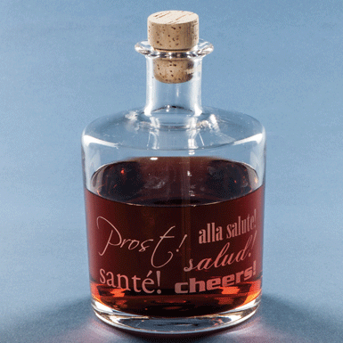 "Whisky or Cognac decanter ""Santé"" with cork stop."