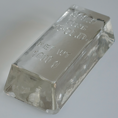 "Glass ingot ""999.9 fine GOLD"""